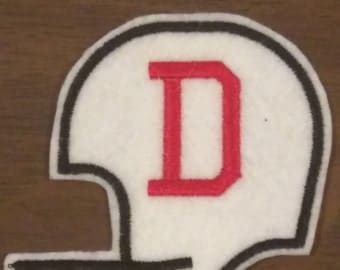 Personalized football helmet iron on embroidered patch
