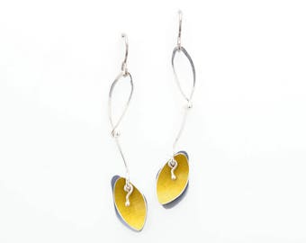 Sunbeam Shadows Collection -Long Silver and Aluminum Earrings