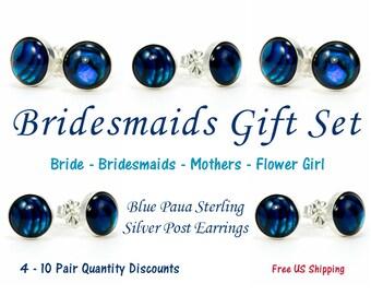 Paua Shell Wedding Earrings - Blue Paua Shell Sterling Silver Stud Earrings - 6 mm or 8 mm - Something Blue - Wedding Party Gift Sets