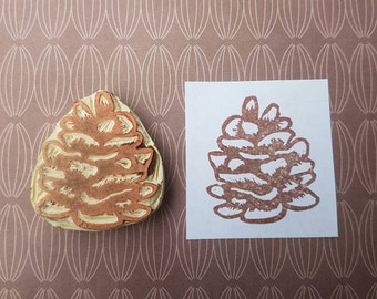 Pinecone Stamp - rubber stamp, tree, pine, cone