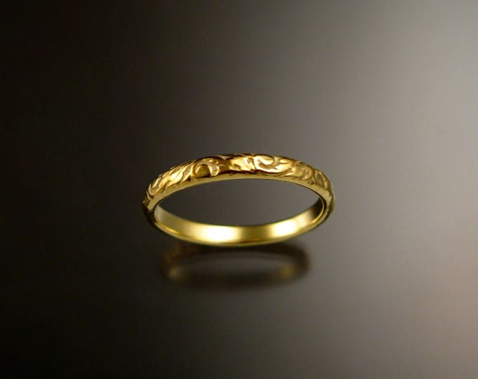 14k Green Gold 2.7 wide  x 1mm thick. Floral pattern Band wedding ring made to order in your size