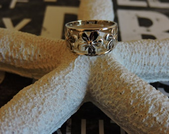 Sterling Silver Ring, Flower Ring, Wide Band, Silver Ring, Gift, Siljewel, Sterling Silver Band