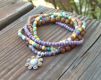 Bohemian Stack Daisy Bracelet Set, Stretch Bracelets - Beaded Wood and Czech glass, hippie bracelets