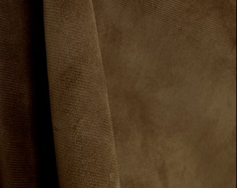 Satisfaction Chocolate Brown Corduroy Velvet Upholstery Fabric