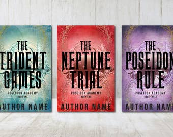 "3 Book Series Premade Digital eBook Book Cover Design Trilogy ""Poseidon Academy"" Young New Adult YA Teen Dystopian Mythology Fantasy"