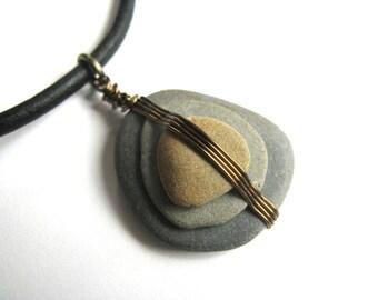 Wellfleet Beach Stone Leather Necklace