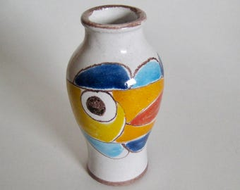 Desimone Vase Italy Small Hand Painted Vintage Retro 1964 Colorful Fish Art Pottery Home Decor