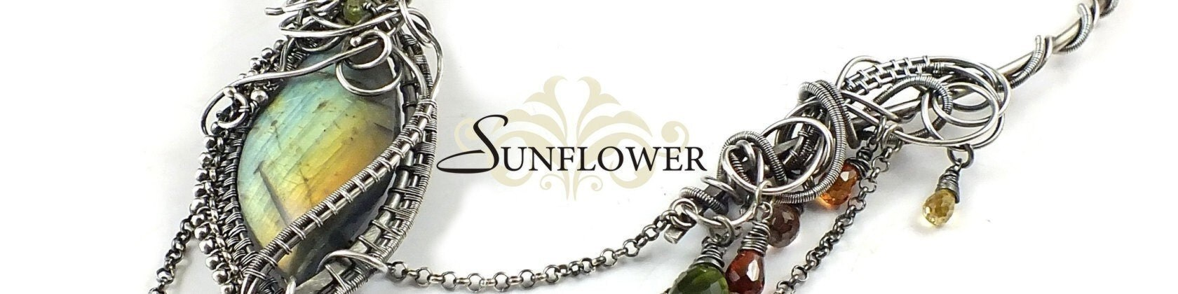 Sunflower silver wire wrapped jewelry by MadeBySunflower on Etsy