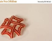 HALF PRICE SALE Vintage 1960s Red Trifari Brooch - Maltese Rope Cross - Crown Mark