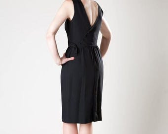 HALF PRICE SALE Vintage 1960s Dress Lanz Black Asymmetrical Crepe Cocktail Fashions 1950s