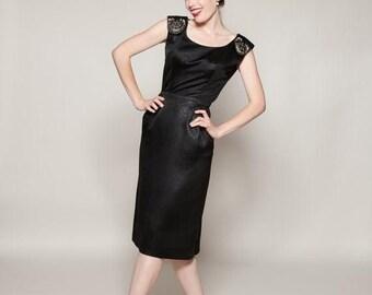HALF PRICE SALE Vintage 1950s Kramer Dress Black Satin Lbd Beaded Cocktail Fashions