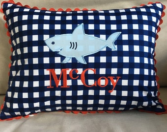Appliqued Shark Pillow Cover