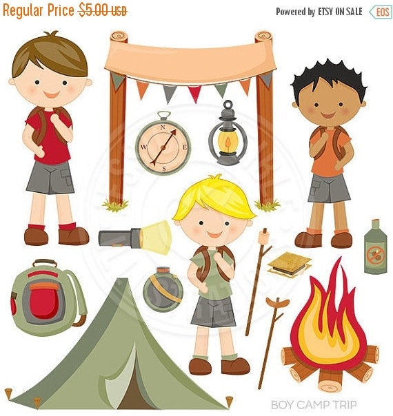 ON SALE Boy Camp Trip Cute Digital Clipart, Camping Clip Art, Tent, Backpack, Fire pit, Campers, Nature Graphics, Hiking Clipart