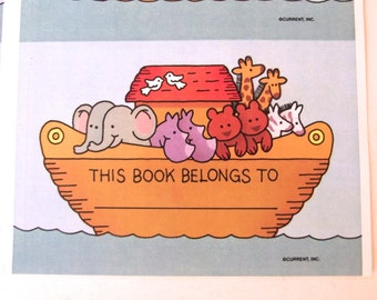 Noah's Ark Bookplates, Vintage Set of 24 Book ID Labels from Current Cards (A3)
