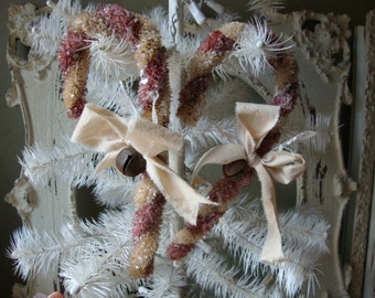 Bottle brush candy cane ornaments with mica glitter Shabby Cottage Chic Christmas decor Vintage style Christmas rustic chic