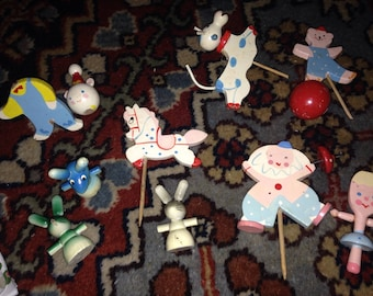 Vintage Cake Toppers Wooden Painted Clown Cow Mouse Mice