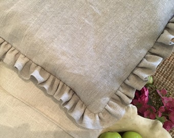 Washed linen ruffled duvet covers -Twin Full Queen King and California king- Installment plan available on this item