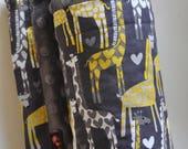 Custom Order Gender Neutral Baby Blanket, X LARGE, Snuggle Size, Super Cute Grey and Yellow Giraffe & Grey Minky