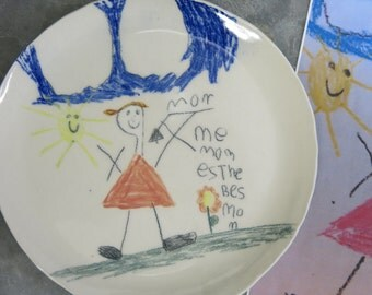 Custom Personalized Transfer of Child's Drawing onto a Porcelain Plate Memories That Last Forever, Artisan Pottery by Licia Lucas Pfadt