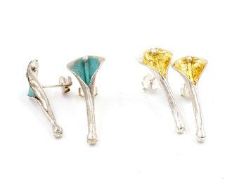 Medium Calla-Lily stud- earrings  by CARLOS TELLECHEA