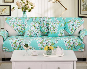 Plum Blossom Sofa Cover Couch Floral Slipcover Loveseat Cover Cotton Turquoise Blue Green White Home Decor