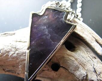 Electroformed pendant | crystal arrowhead | purple | silver | quartz necklace | pendant necklace