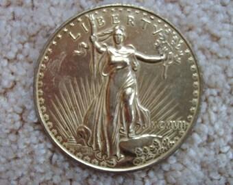 Oversized Souvenir Gold Twenty Dollar Coin, Replica  St. Gaudens Double Eagle Gold Coin