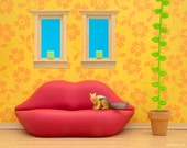 Surreal and unusual living room diorama with lip sofa and chipmunk: Face To Face