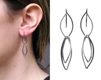 Marquise short chain earrings | oxidize silver earring | recycle sterling silver | yoni earrings | vagina jewelry | marquise silver earrings