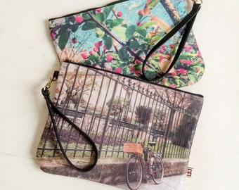 faux suede photo print pouch, casual pouch, large pouch, bicycle, flower, Paris, Japanese flower, Strap pouch, resort, Travel