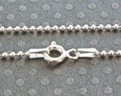 Sterling Silver Ball Chain / 1.5mm Chain / 925 Sterling Silver / 20 inch Chain / Sterling Silver Bead Chain / Italian Silver Chain