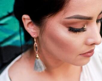 Gray Tassel Earrings - Short Fringe Earrings -Boho Earrings For Her -Gold Gypsy Earrings -Soft Tassel Jewelry - Best Seller Gifts For Women