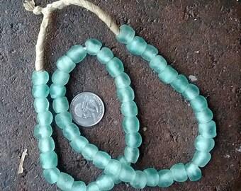 Ghana Glass Beads: Light Green 10mm