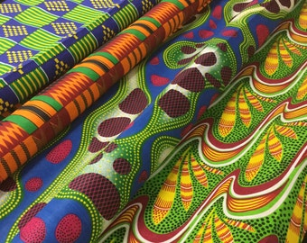 "45"" Wide African Cotton Wax Block Print Fabric Ethnic Tribal Feather Geometric Abstract Pattern for Shirt Dress Royal Blue Orange Red ST"