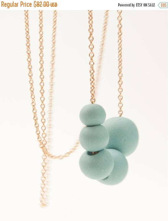 SALE Porcelain Long Necklace Turquoise Beads and 14 ct gold filled Chain  Antalya, porcelain jewelry,ceramic necklace