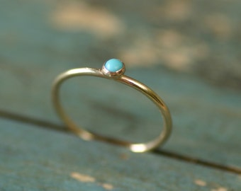 Tiny turquoise ring gold, December birthstone ring stackable, gold stacking ring, petite gemstone ring - Juliet