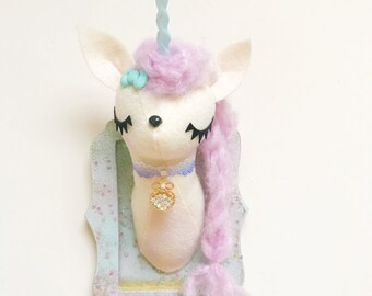Mini Unicorn Faux Taxidermy