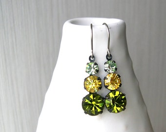 Titanium Dangle Earrings - Rhinestone Drops, Olive Green, Yellow, Mint Blue, Nickel Free Earwires, Spring, Vintage Components, Sparkly