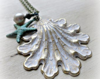 Sea Shell Jewelry - Shell Necklace - Ocean Jewelry - Beach Jewelry - Verdigris Patina Brass - Nature Jewelry - Nature Necklace - Beach
