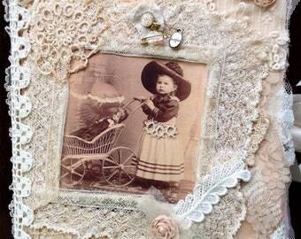 Sweet Handcrafted Journal - Vintage Baby/Children/Lace - Keepsake Treasure - Imagine