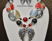 Cowgirl Boho Western Necklace Set / Statement Black and Red Necklace / Wings Pendant Necklace / Statemnent Chunky Jewelry - RED WINGS