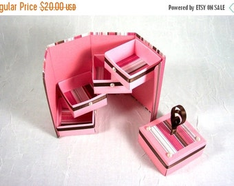 Holiday SALE Pink and Chocolate Stripe Bits and Bobs Box