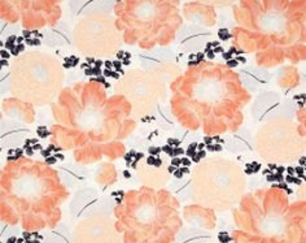Coral and Navy Floral Dear Stella - 264 - Full or Half Yard Large Scale Floral