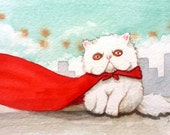 Super Kitty. Signed Print of an Original Watercolor Painting.