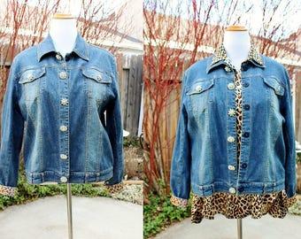 1990s Stonewashed Denim Jacket 1XL Plus Size Rhinestone Buttons Vintage Retro 90s Country Chic Blue