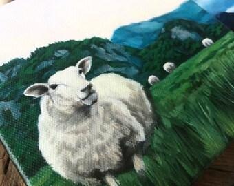 Sheep Painting, Country Decor, Rustic Decor, Wall Art, Norwegian, Sheep Art, Farm, Landscape, Gift for her, Norway, nursery decor, original