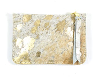 Gold Hair On Hide Leather Zip Pouch Purse Wallet Handmade