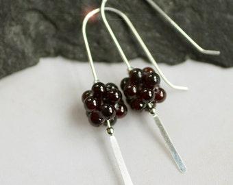 Crimson - Garnet Drop Sterling Silver Earrings