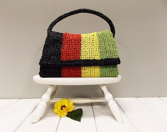 """Vintage 1960's Raffia Straw Purse---  """"Olympic Accesory made in Japan"""" --- Multi-Color Woven Raffia"""