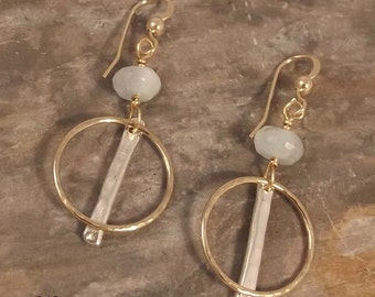 Gold, Silver and Aquamarine Earrings